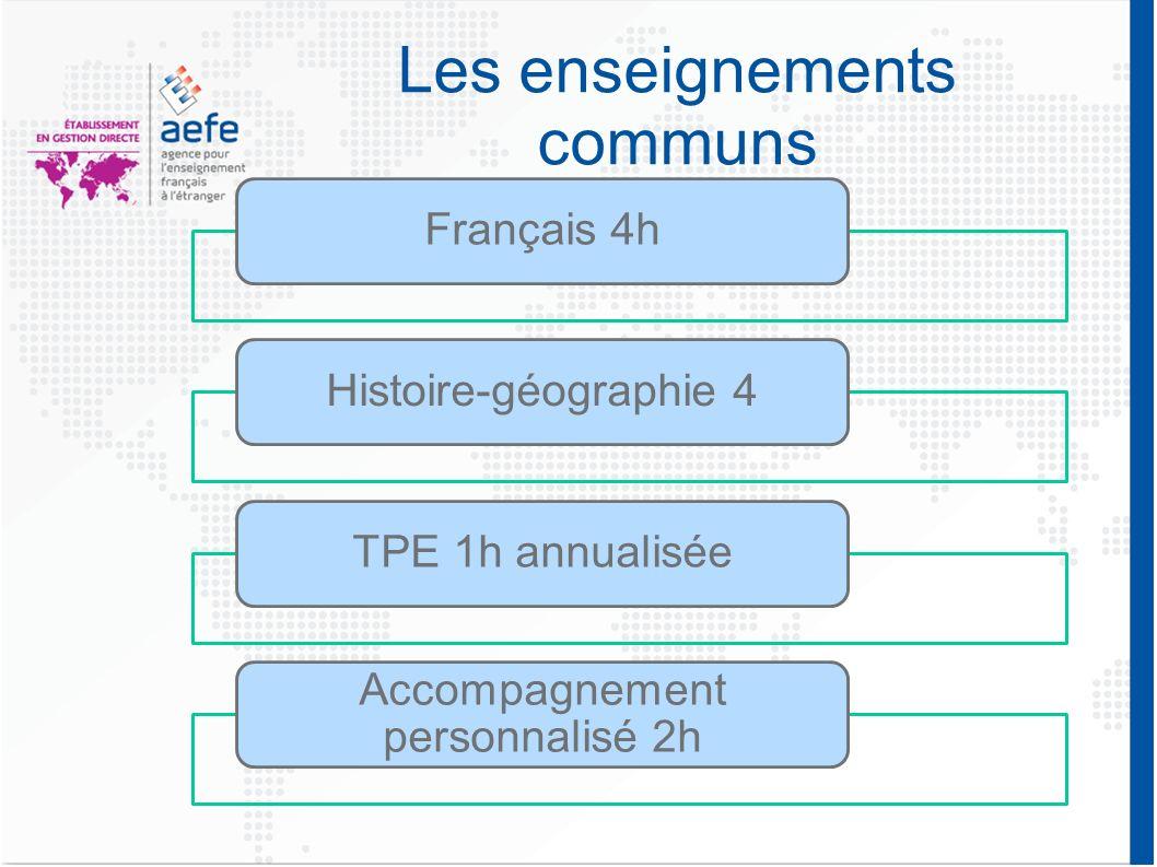 Les enseignements communs Français 4hHistoire-géographie 4TPE 1h annualisée Accompagnement personnalisé 2h