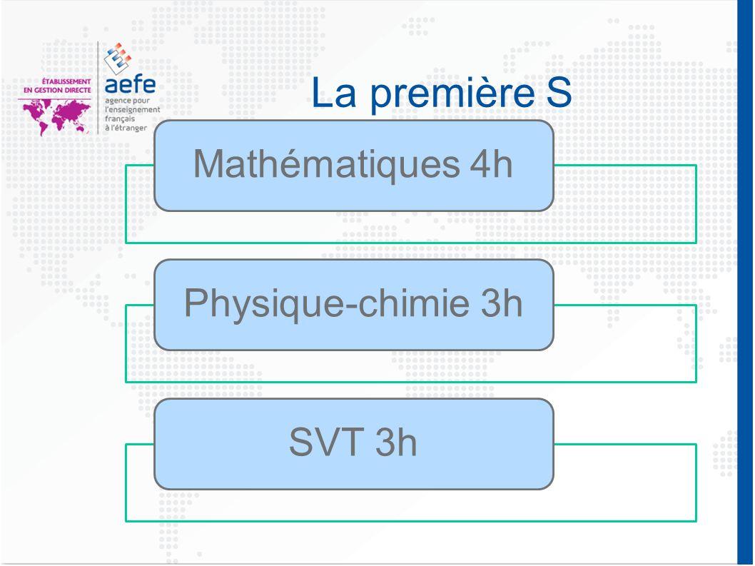 La première S Mathématiques 4hPhysique-chimie 3hSVT 3h