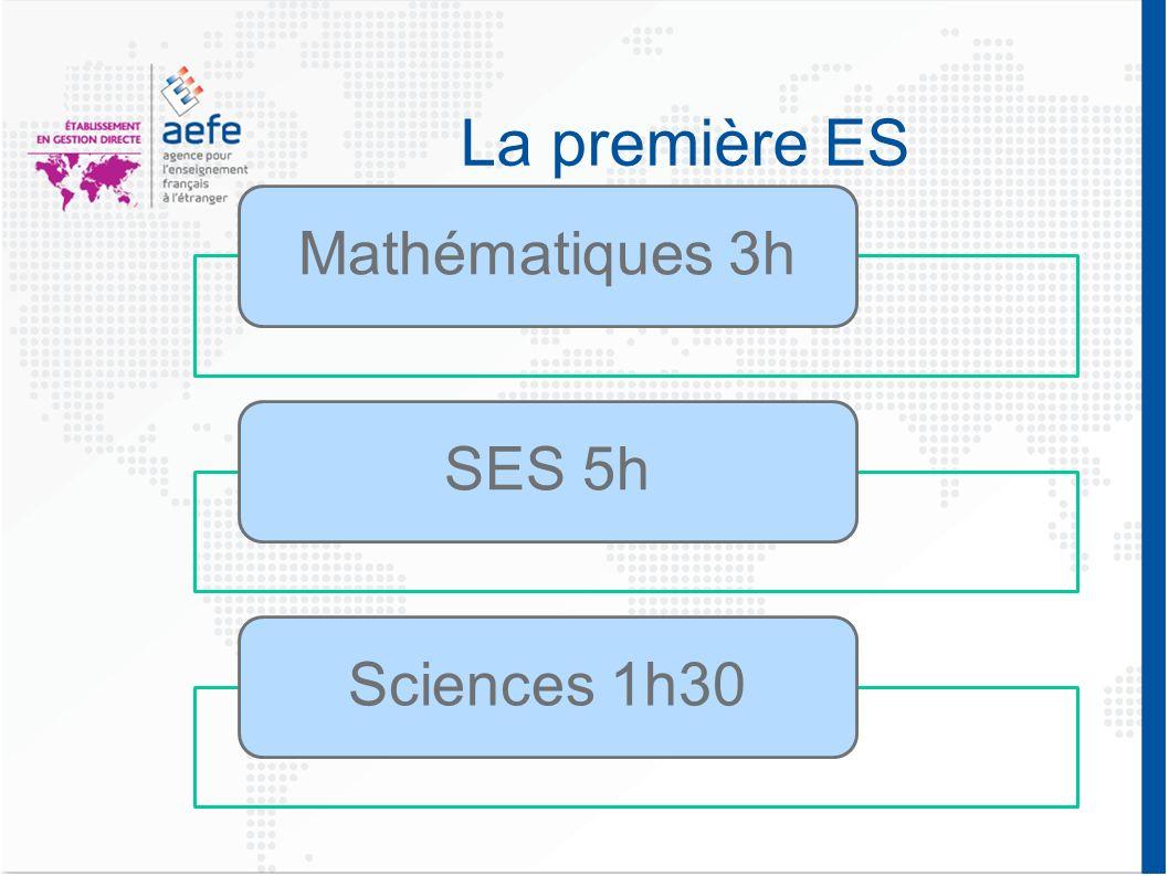 La première ES Mathématiques 3hSES 5hSciences 1h30