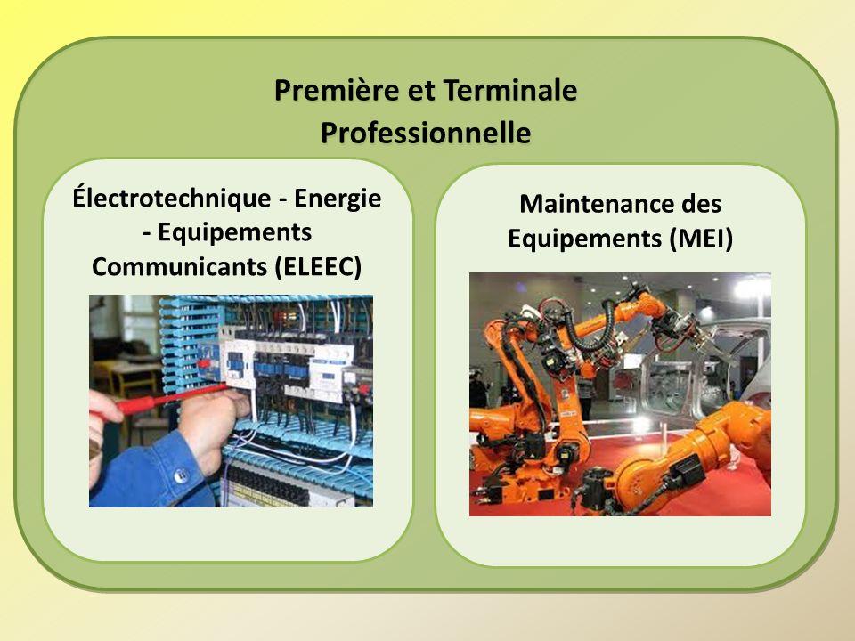 Première et Terminale Professionnelle Première et Terminale Professionnelle Électrotechnique - Energie - Equipements Communicants (ELEEC) Maintenance