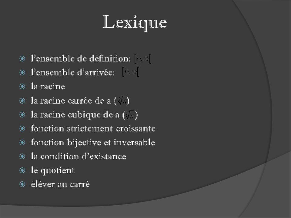Lexique lensemble de définition: lensemble darrivée: la racine la racine carrée de a ( ) la racine cubique de a ( ) fonction strictement croissante fonction bijective et inversable la condition dexistance le quotient élèver au carré