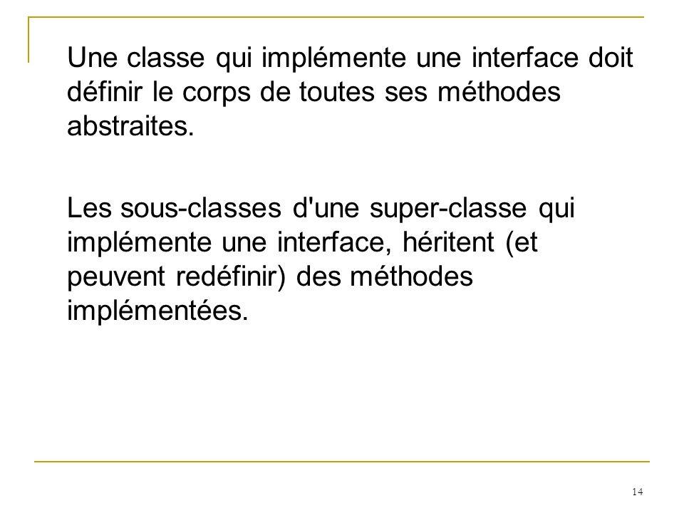 14 Une classe qui implémente une interface doit définir le corps de toutes ses méthodes abstraites. Les sous-classes d'une super-classe qui implémente