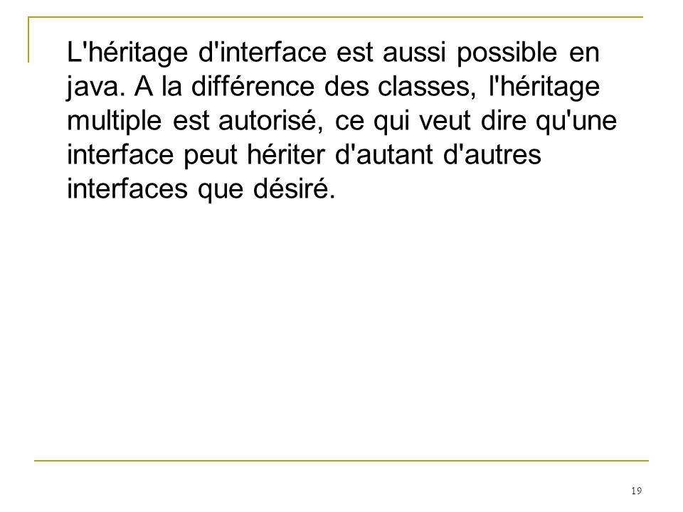 19 L'héritage d'interface est aussi possible en java. A la différence des classes, l'héritage multiple est autorisé, ce qui veut dire qu'une interface
