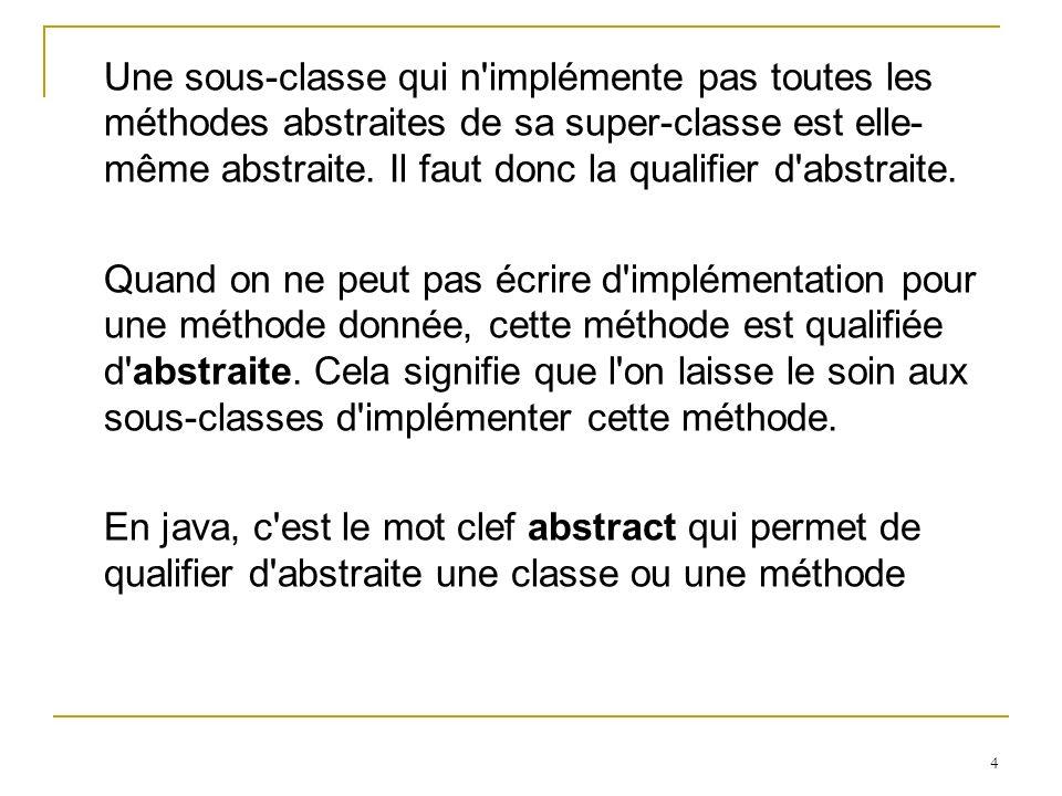 4 Une sous-classe qui n'implémente pas toutes les méthodes abstraites de sa super-classe est elle- même abstraite. Il faut donc la qualifier d'abstrai