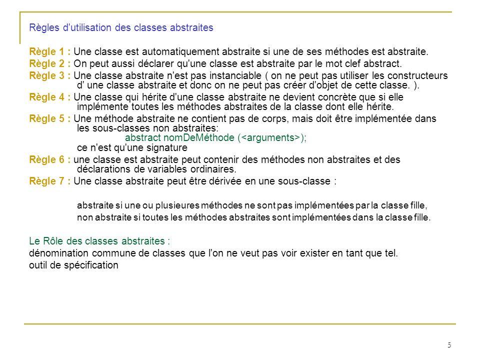5 Règles d'utilisation des classes abstraites Règle 1 : Une classe est automatiquement abstraite si une de ses méthodes est abstraite. Règle 2 : On pe