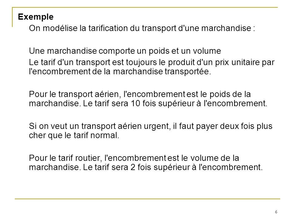 6 Exemple On modélise la tarification du transport d une marchandise : Une marchandise comporte un poids et un volume Le tarif d un transport est toujours le produit d un prix unitaire par l encombrement de la marchandise transportée.