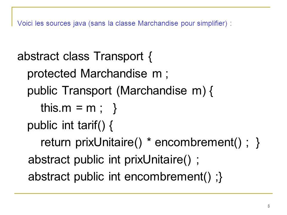 9 class Aerien extends Transport{ public Aerien (Marchandise m) { super(m) ; } protected int prixUnitaire(){ return 10 ; } protected int encombrement(){ return m.poids() ; } }