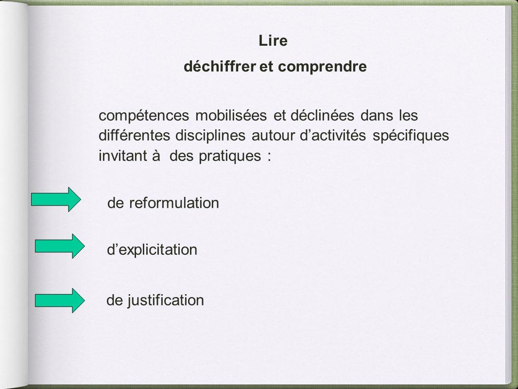 Lire déchiffrer et comprendre compétences mobilisées et déclinées dans les différentes disciplines autour dactivités spécifiques invitant à des pratiq