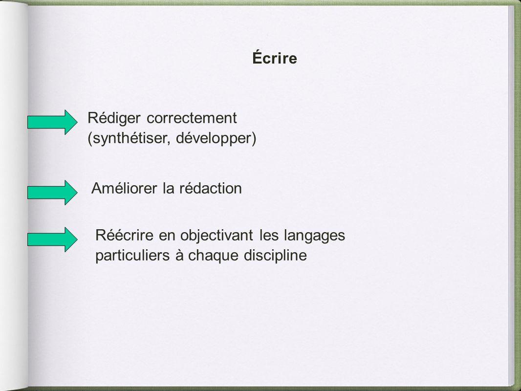 Écrire Rédiger correctement (synthétiser, développer) Améliorer la rédaction Réécrire en objectivant les langages particuliers à chaque discipline