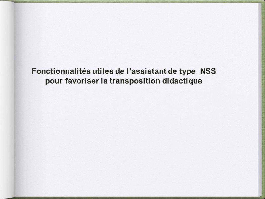 Fonctionnalités utiles de lassistant de type NSS pour favoriser la transposition didactique
