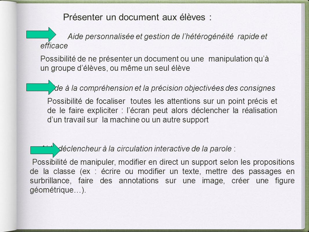 Présenter un document aux élèves : Aide personnalisée et gestion de lhétérogénéité rapide et efficace Possibilité de ne présenter un document ou une m