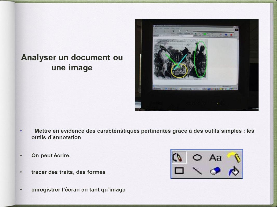 Analyser un document ou une image Mettre en évidence des caractéristiques pertinentes grâce à des outils simples : les outils dannotation On peut écri