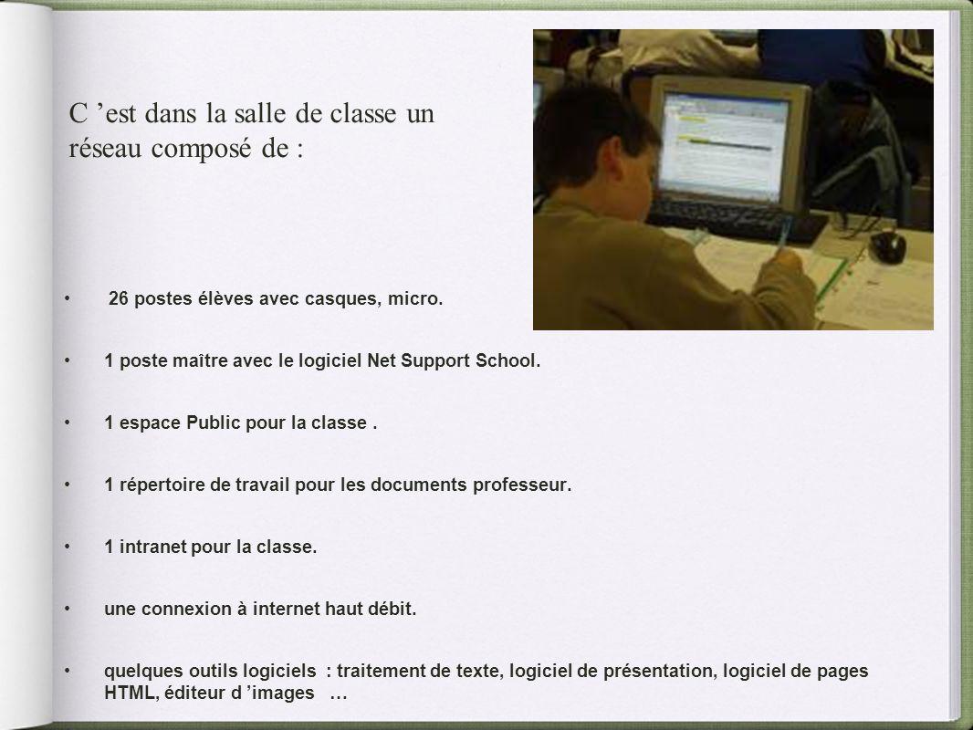 26 postes élèves avec casques, micro. 1 poste maître avec le logiciel Net Support School. 1 espace Public pour la classe. 1 répertoire de travail pour