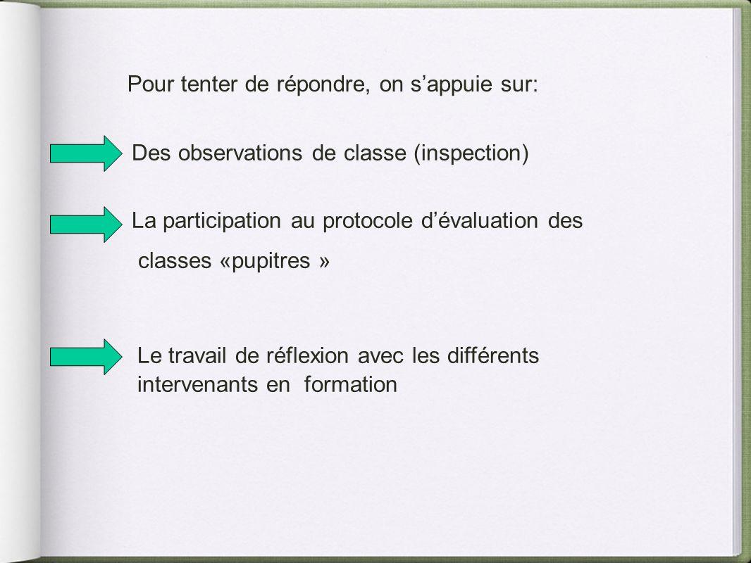 Pour tenter de répondre, on sappuie sur: Des observations de classe (inspection) La participation au protocole dévaluation des classes «pupitres » Le