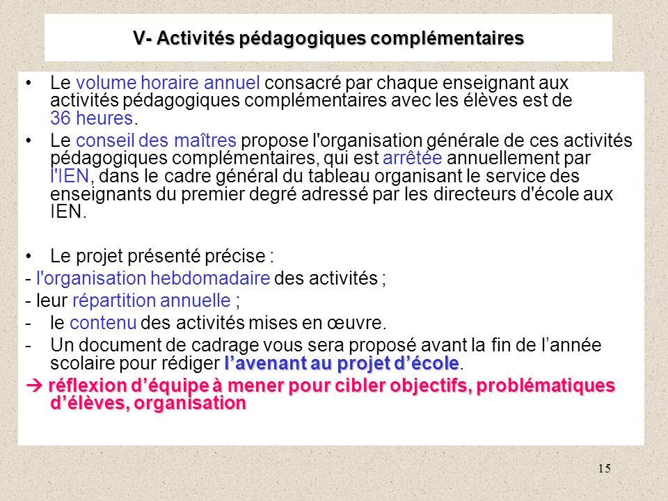 15 V- Activités pédagogiques complémentaires Le volume horaire annuel consacré par chaque enseignant aux activités pédagogiques complémentaires avec les élèves est de 36 heures.