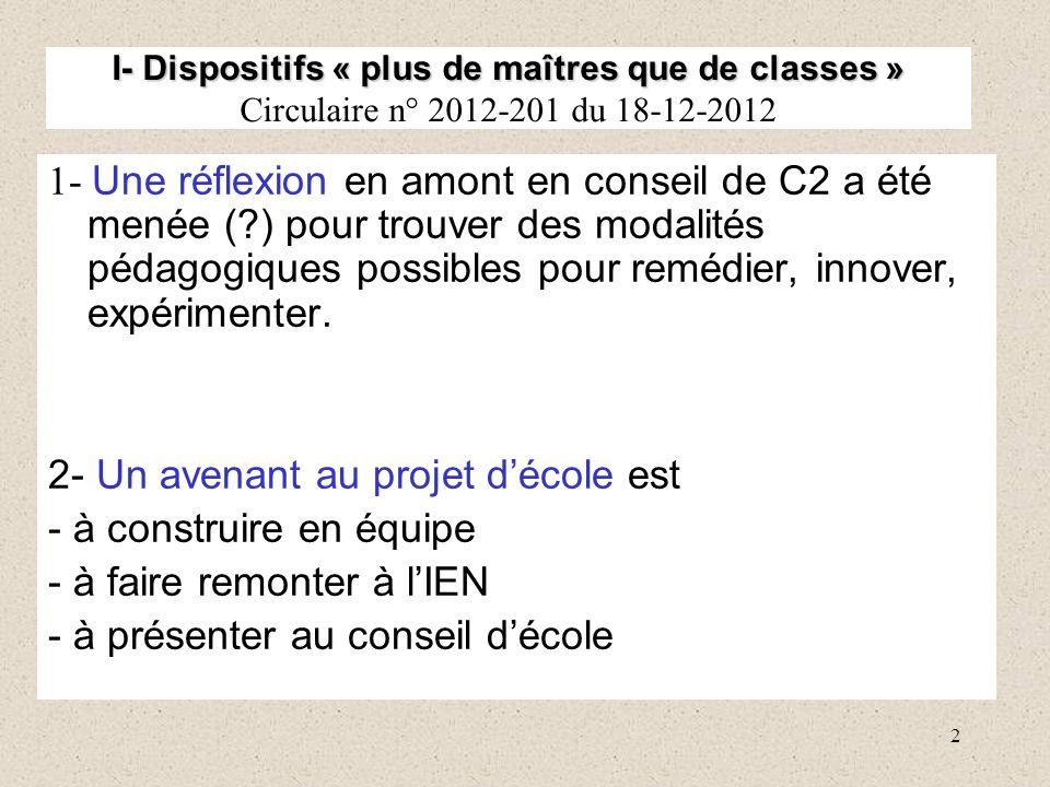 2 I- Dispositifs « plus de maîtres que de classes » I- Dispositifs « plus de maîtres que de classes » Circulaire n° 2012-201 du 18-12-2012 1- Une réfl