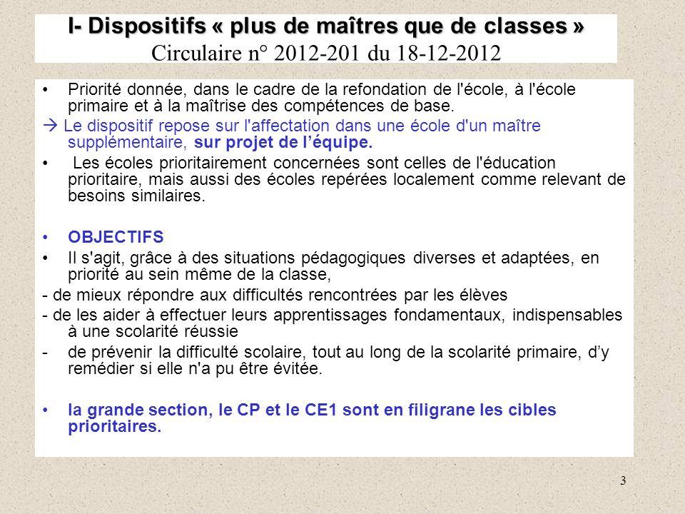 3 I- Dispositifs « plus de maîtres que de classes » I- Dispositifs « plus de maîtres que de classes » Circulaire n° 2012-201 du 18-12-2012 Priorité do