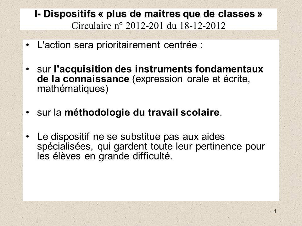 4 I- Dispositifs « plus de maîtres que de classes » I- Dispositifs « plus de maîtres que de classes » Circulaire n° 2012-201 du 18-12-2012 L'action se
