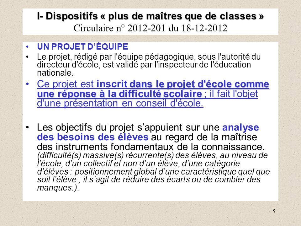 5 I- Dispositifs « plus de maîtres que de classes » I- Dispositifs « plus de maîtres que de classes » Circulaire n° 2012-201 du 18-12-2012 UN PROJET D