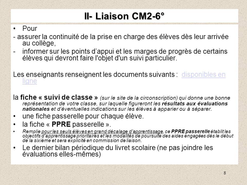 8 II- Liaison CM2-6° Pour - assurer la continuité de la prise en charge des élèves dès leur arrivée au collège, -informer sur les points dappui et les