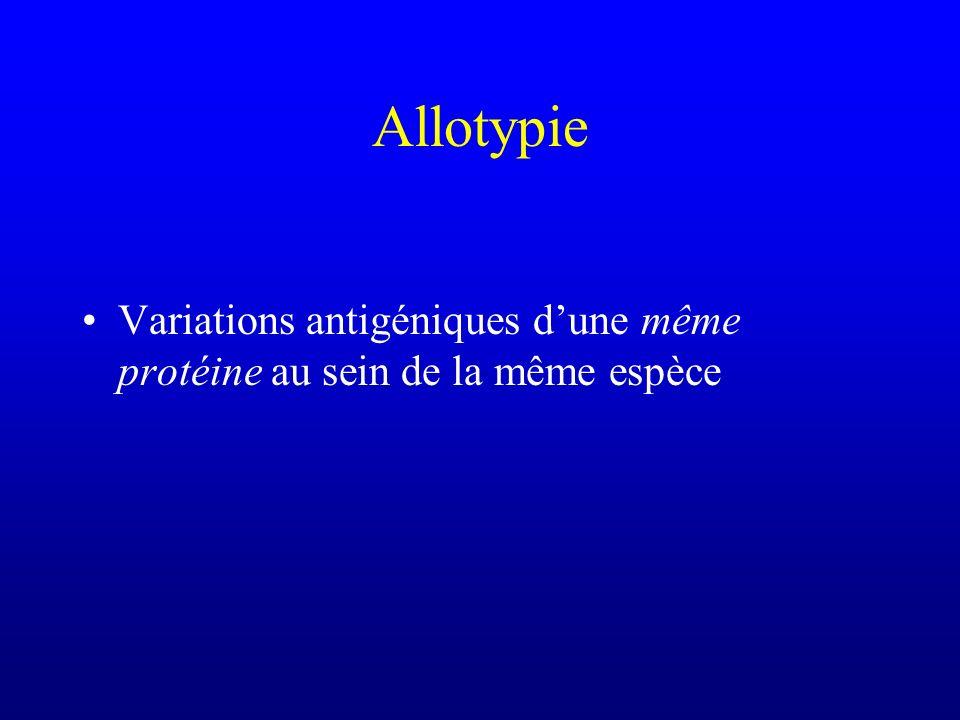 Allotypie Variations antigéniques dune même protéine au sein de la même espèce