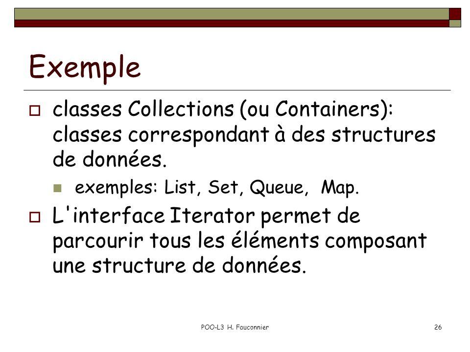 POO-L3 H. Fauconnier26 Exemple classes Collections (ou Containers): classes correspondant à des structures de données. exemples: List, Set, Queue, Map