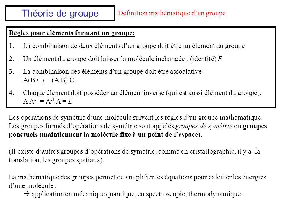 Si la multiplication est commutative: AB = BA groupe abélien Si la multiplication nest pas commutative: AB BA groupe non-abélien EC2C2 v v EEC2C2 v v C2C2 C2C2 E v v v v v EC2C2 v v v C2C2 E exemple: opérations de symétrie E, C 2, v, v Est-ce que ces opérations forment un groupe .