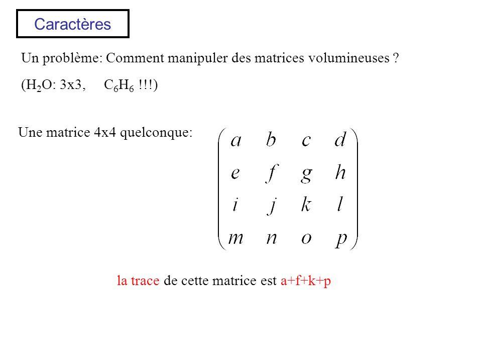 Caractères Un problème: Comment manipuler des matrices volumineuses ? (H 2 O: 3x3, C 6 H 6 !!!) Une matrice 4x4 quelconque: la trace de cette matrice