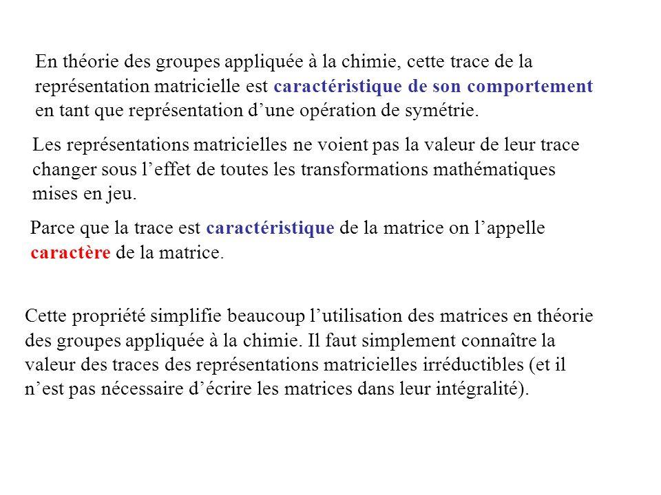 Cette propriété simplifie beaucoup lutilisation des matrices en théorie des groupes appliquée à la chimie. Il faut simplement connaître la valeur des