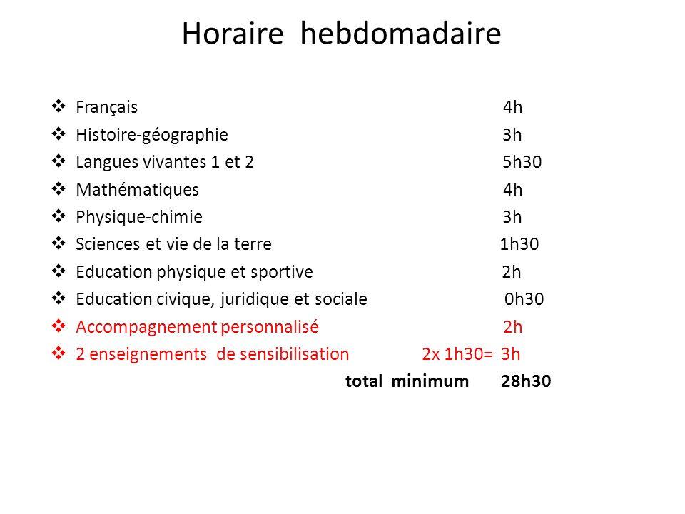 Horaire hebdomadaire Français 4h Histoire-géographie 3h Langues vivantes 1 et 2 5h30 Mathématiques 4h Physique-chimie 3h Sciences et vie de la terre 1