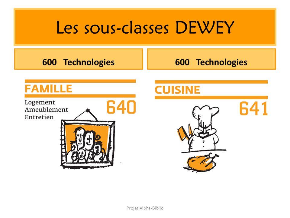 Projet Alpha-Biblio Les sous-classes DEWEY 600 Technologies