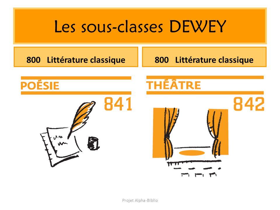 Projet Alpha-Biblio Les sous-classes DEWEY 800 Littérature classique