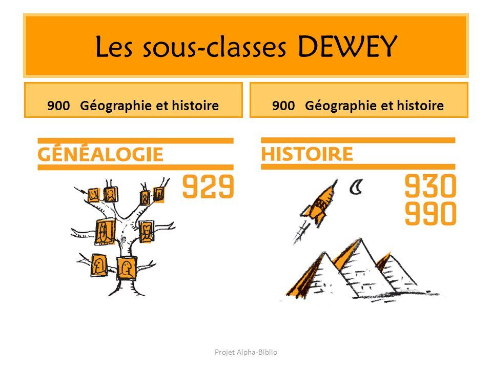 Projet Alpha-Biblio Les sous-classes DEWEY 900 Géographie et histoire
