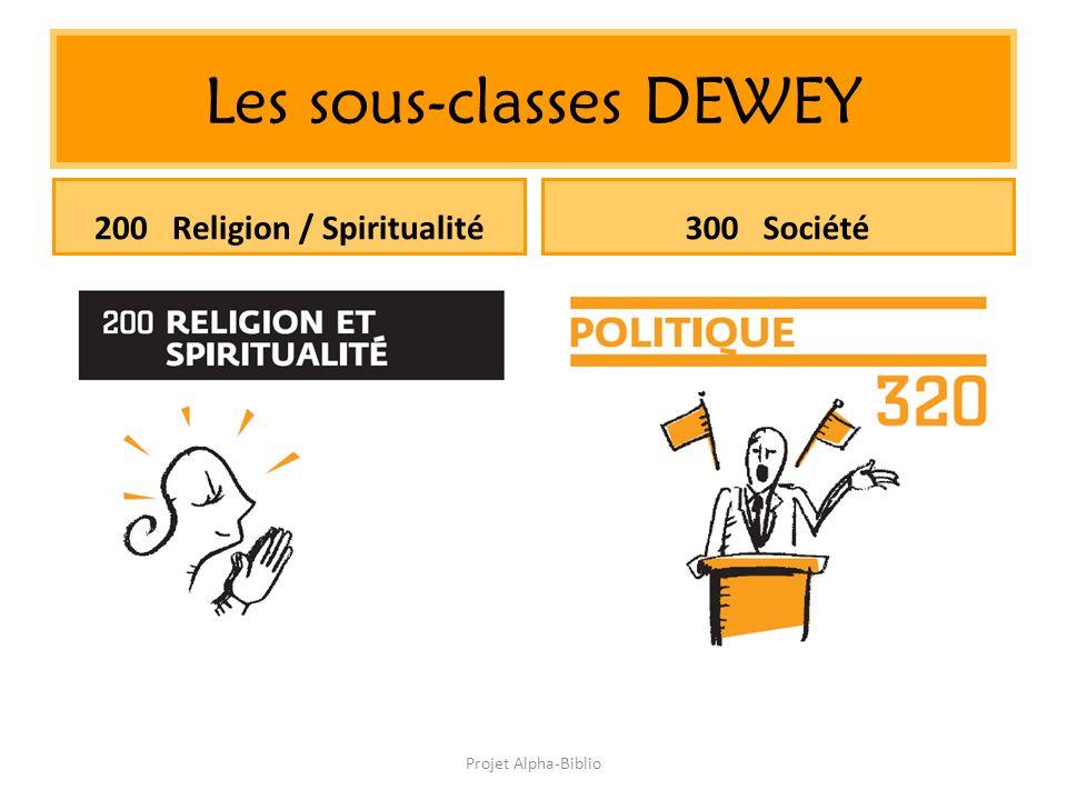 Projet Alpha-Biblio Les sous-classes DEWEY 200 Religion / Spiritualité300 Société