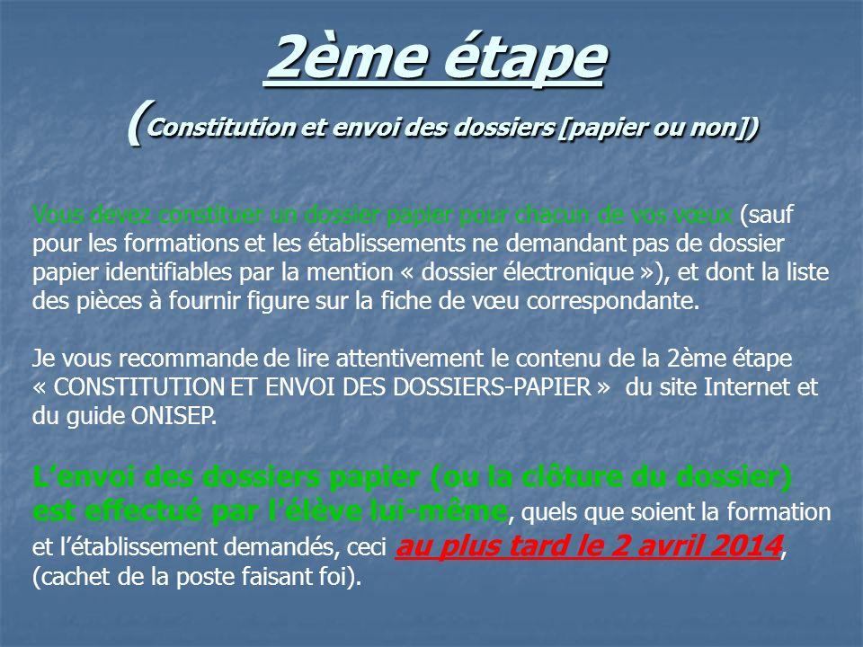 2ème étape ( Constitution et envoi des dossiers [papier ou non]) Vous devez constituer un dossier papier pour chacun de vos vœux (sauf pour les format