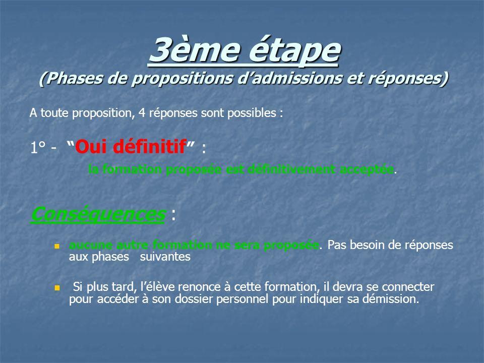 3ème étape (Phases de propositions dadmissions et réponses) A toute proposition, 4 réponses sont possibles : 1° - Oui définitif : la formation proposé