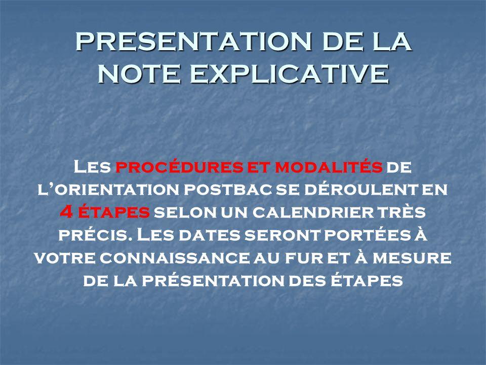 PRESENTATION DE LA NOTE EXPLICATIVE Les procédures et modalités de lorientation postbac se déroulent en 4 étapes selon un calendrier très précis. Les