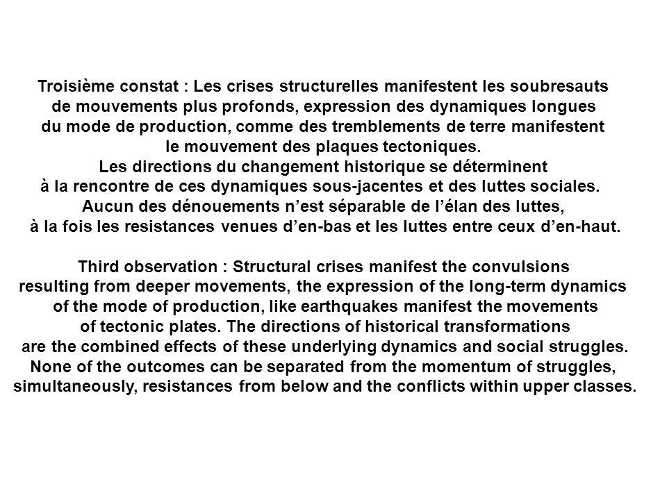 Troisième constat : Les crises structurelles manifestent les soubresauts de mouvements plus profonds, expression des dynamiques longues du mode de production, comme des tremblements de terre manifestent le mouvement des plaques tectoniques.