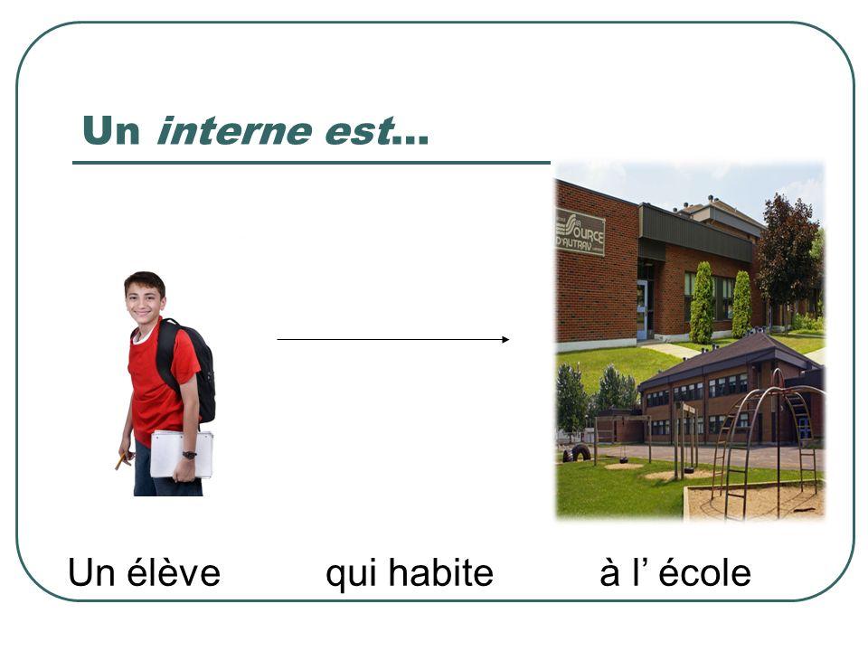 Un interne est… Un élève qui habite à l école