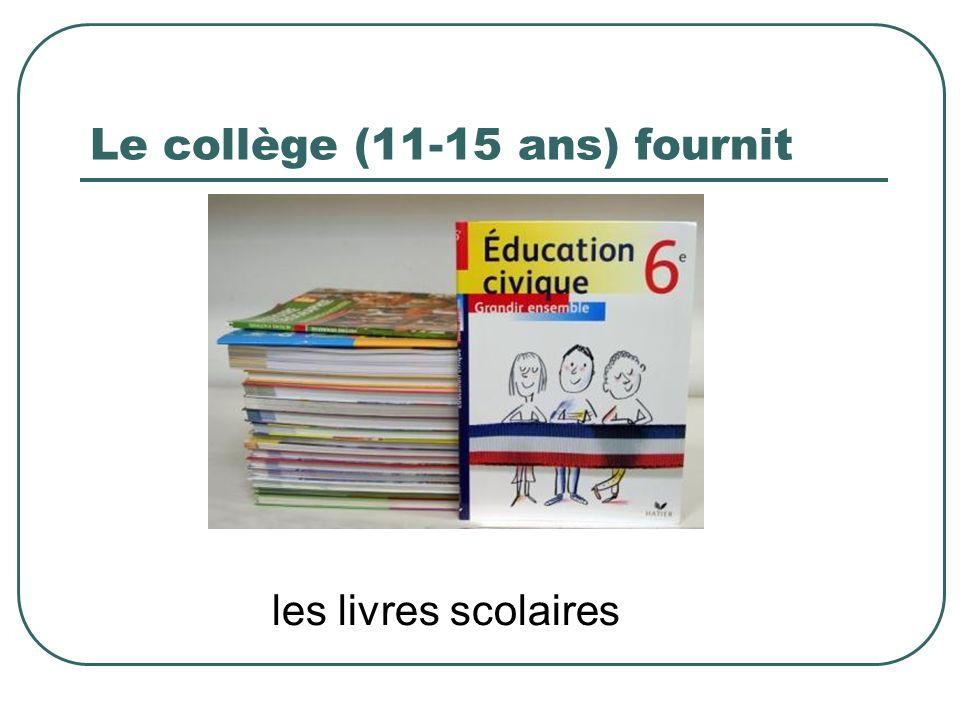 Le collège (11-15 ans) fournit les livres scolaires