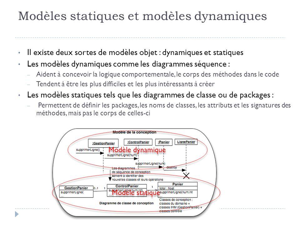 Modèles statiques et modèles dynamiques Il existe deux sortes de modèles objet : dynamiques et statiques Les modèles dynamiques comme les diagrammes s