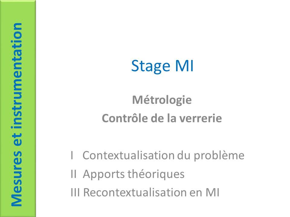 Stage MI Métrologie Contrôle de la verrerie I Contextualisation du problème II Apports théoriques III Recontextualisation en MI Mesures et instrumenta