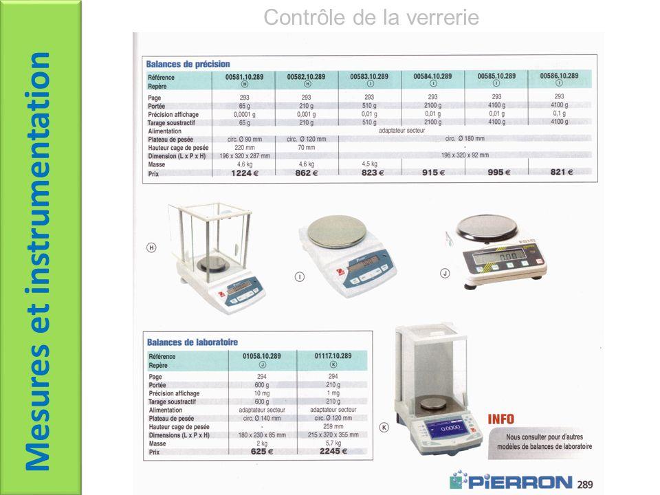 Mesures et instrumentation Contrôle de la verrerie