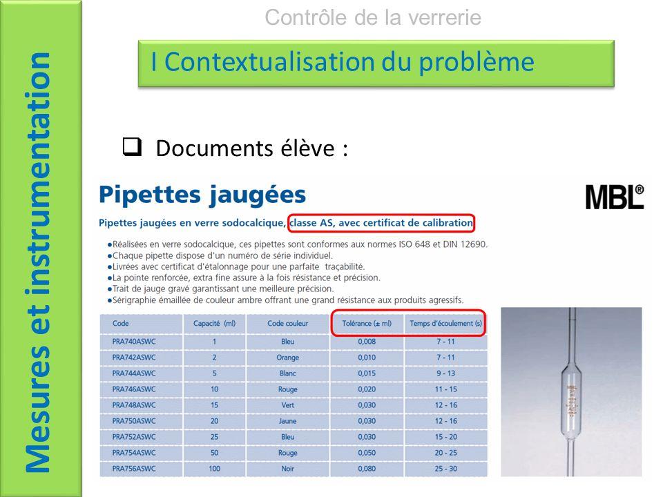 Documents élève : Mesures et instrumentation Contrôle de la verrerie I Contextualisation du problème