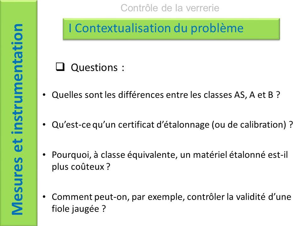 Questions : Mesures et instrumentation Contrôle de la verrerie I Contextualisation du problème Quelles sont les différences entre les classes AS, A et