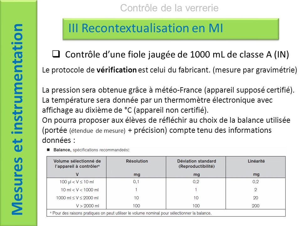Mesures et instrumentation Contrôle de la verrerie III Recontextualisation en MI Le protocole de vérification est celui du fabricant. (mesure par grav