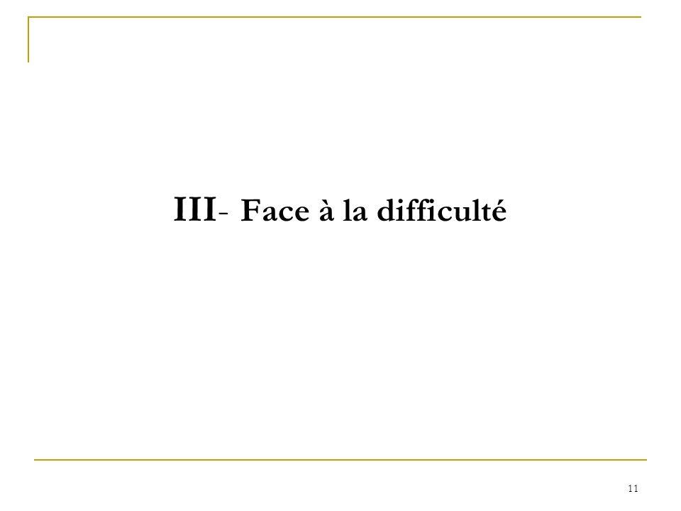 11 III- Face à la difficulté