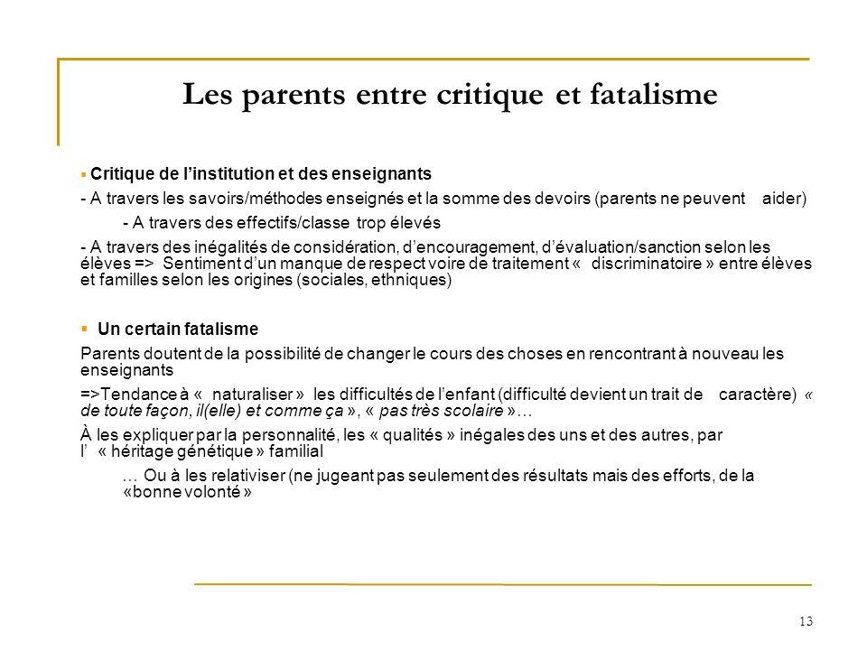 13 Les parents entre critique et fatalisme Critique de linstitution et des enseignants - A travers les savoirs/méthodes enseignés et la somme des devo