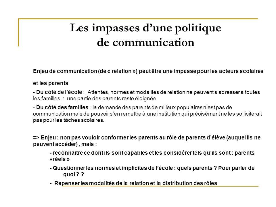 Les impasses dune politique de communication Enjeu de communication (de « relation ») peut être une impasse pour les acteurs scolaires et les parents