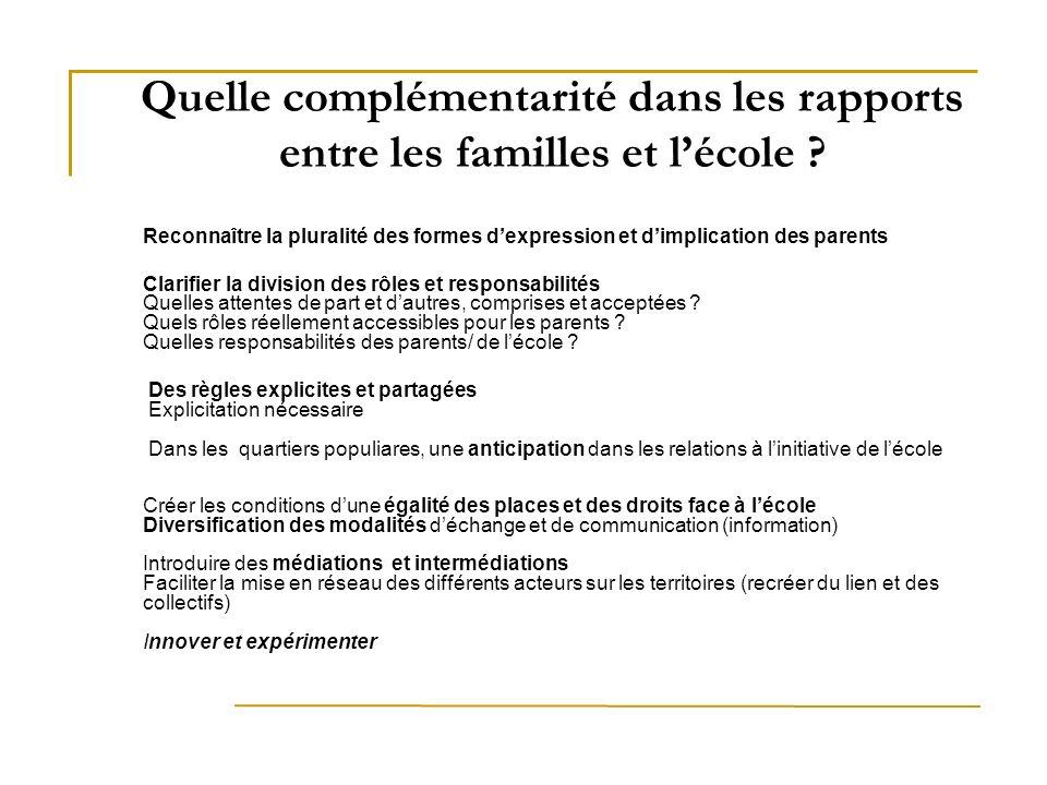 Quelle complémentarité dans les rapports entre les familles et lécole ? Reconnaître la pluralité des formes dexpression et dimplication des parents Cl